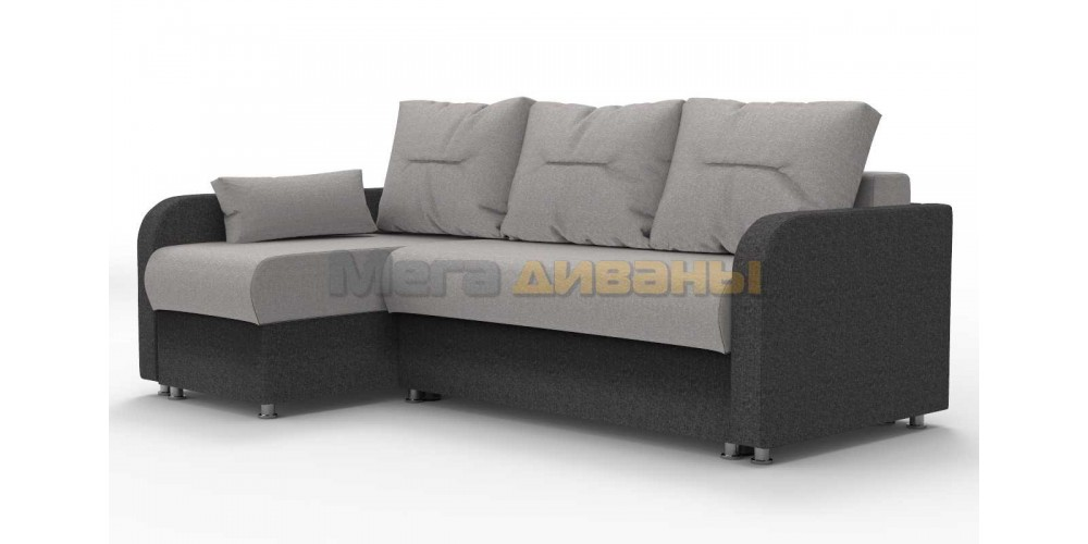 """Угловой диван """"Тритон"""" - Solo silver / graphite"""